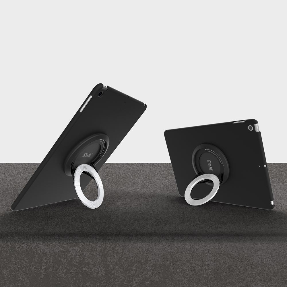 【Rolling-ave.】RA iCircle iPad 10.2吋保護殼支撐架2019上市 (黑色保護殼+iCircle 銀色)