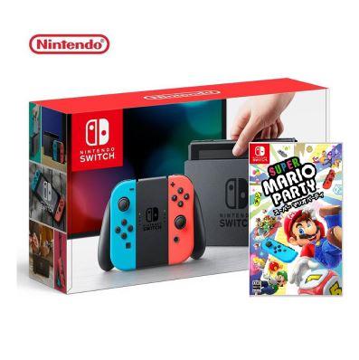 Nintendo 任天堂 Switch 主機 電光紅藍 (台灣公司貨)+超級瑪利歐派對