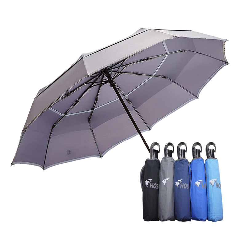 【HOSA】雙反光大傘面自動傘-灰色