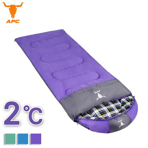 APC《純棉格子》秋冬加寬可拼接全開式睡袋-紫色