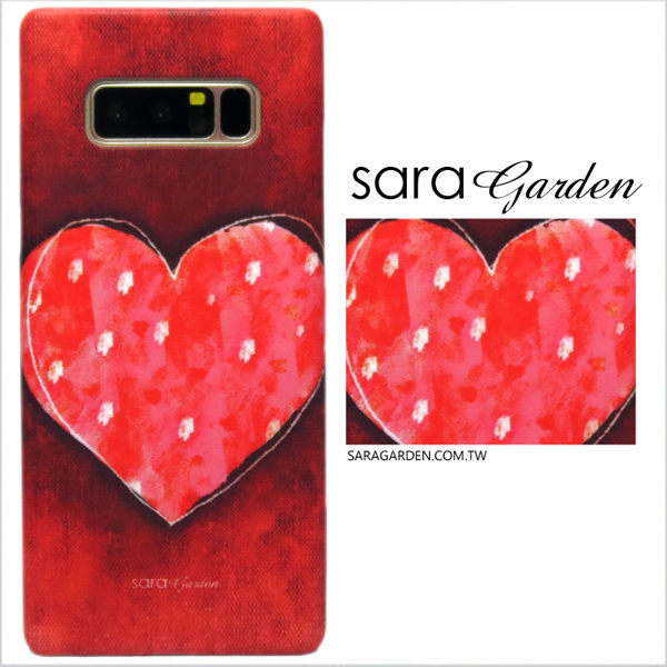 【Sara Garden】客製化 手機殼 Samsung 三星 Note8 手繪 蠟筆感 愛心 點點 保護殼 硬殼