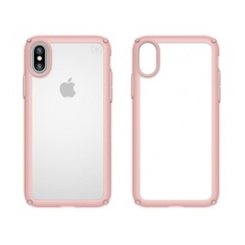 Speck iPhone X/Xs 透明背蓋防摔保護殼 玫瑰金邊框