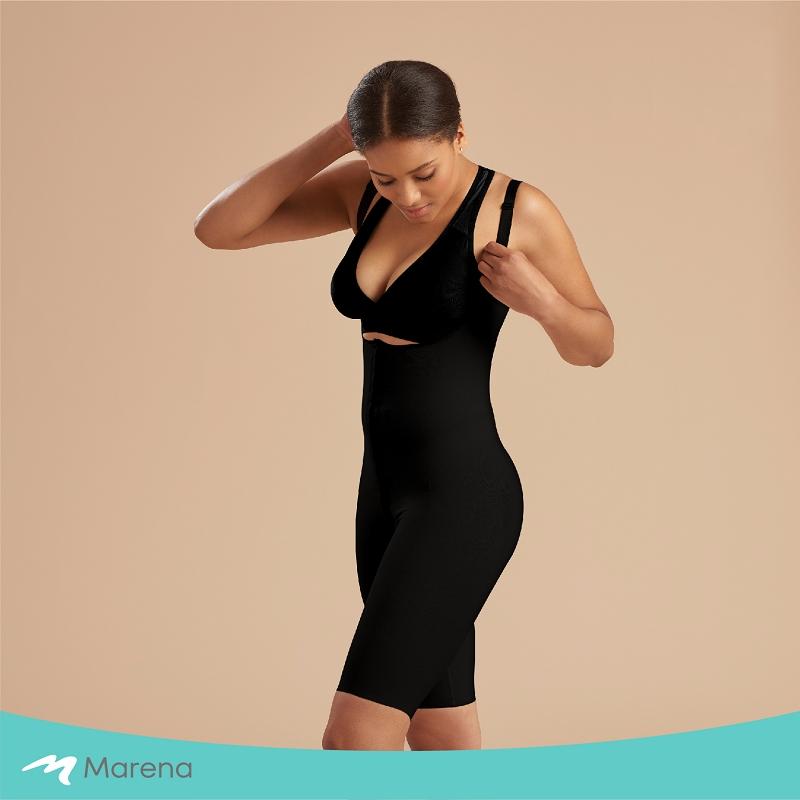 MARENA 強效完美塑形系列 護腰美背膝上型排扣式塑身衣(黑色-M)