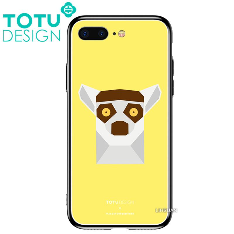 【TOTU台灣官方】鋼化 玻璃 背板 iphone7plus iphone8plus i7+ i8+ 手機殼 防摔殼 四角 全包 軟邊 掛繩孔 可愛 浣熊