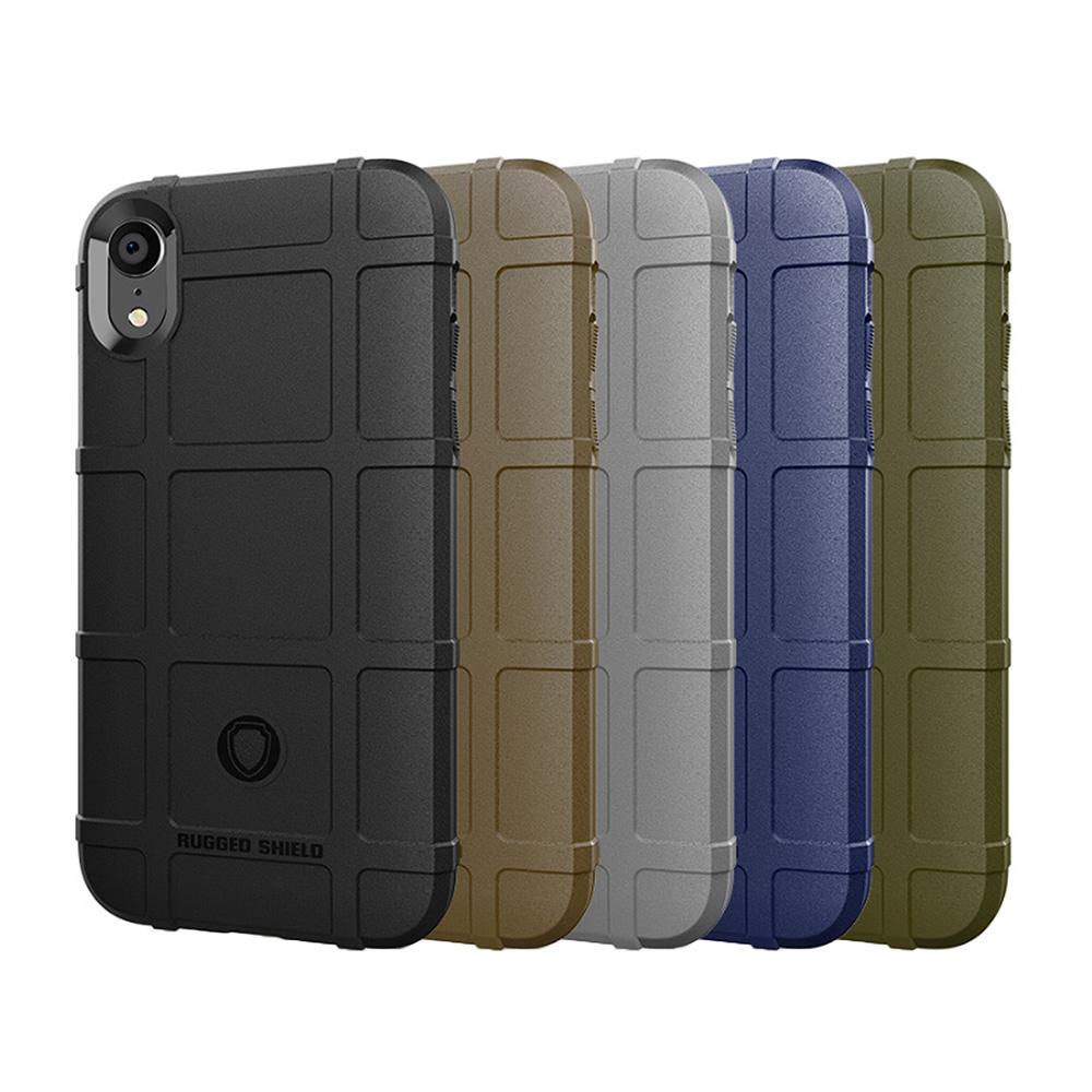 QinD Apple iPhone XR 戰術護盾保護套(棕色)