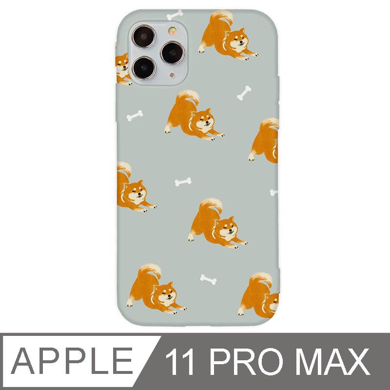 iPhone 11 Pro Max 6.5吋 萌寵碎花設計iPhone手機殼 伸懶腰柴犬 灰色