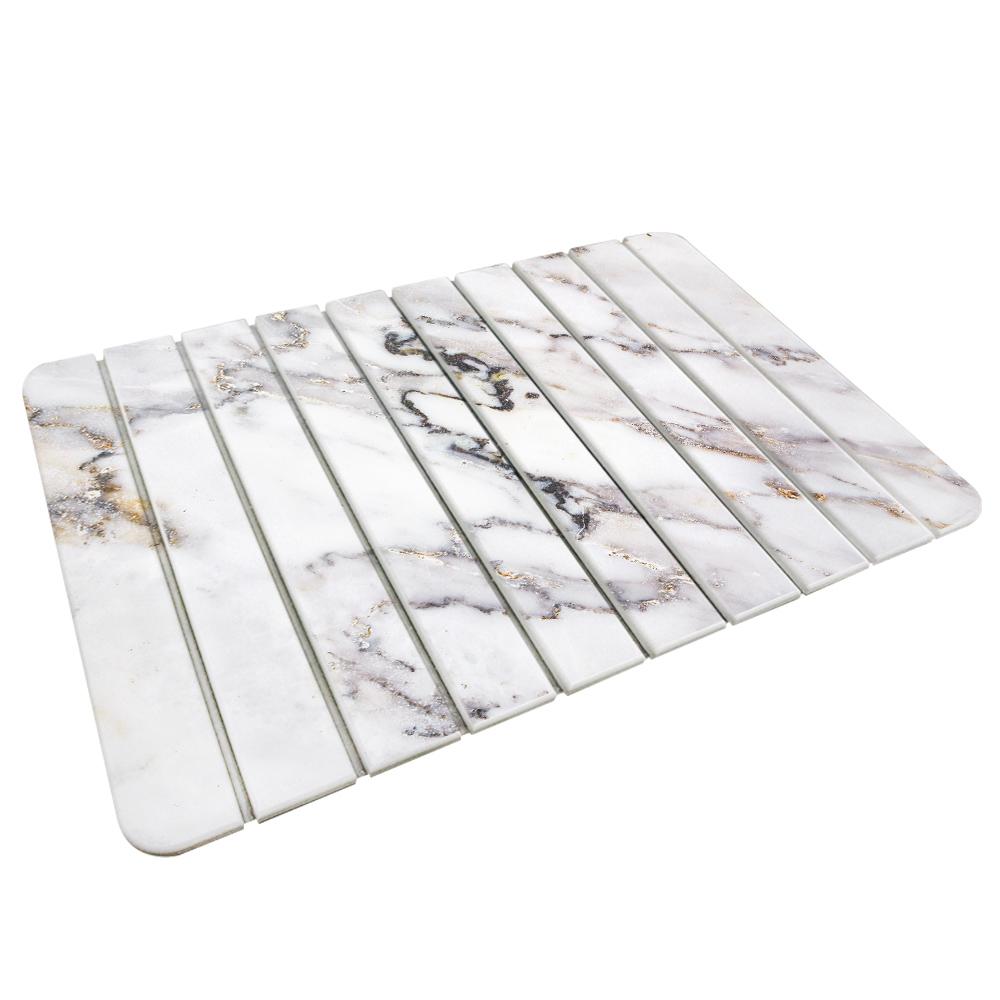 【收納王妃】(大理石-2)-自然風 折疊式珪藻土超吸水地墊60*39