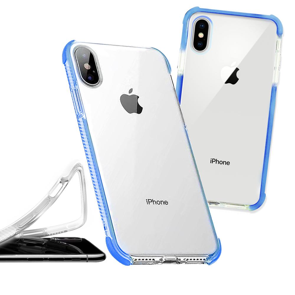iPhone Xs Max 6.5吋 彩虹多色邊條可換式防摔手機殼(悍將藍)