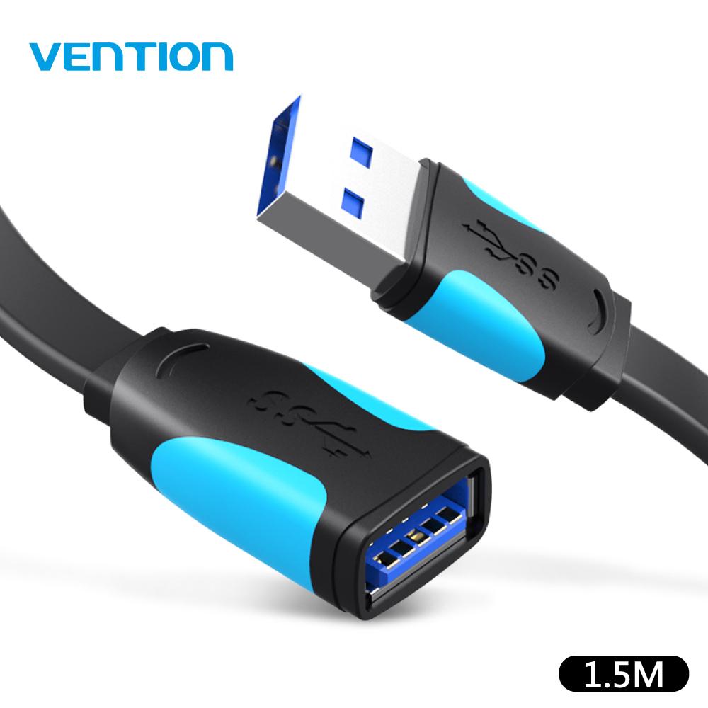 VENTION 威迅 A45系列 USB3.0 公對母 延長線 1.5M - 黑色