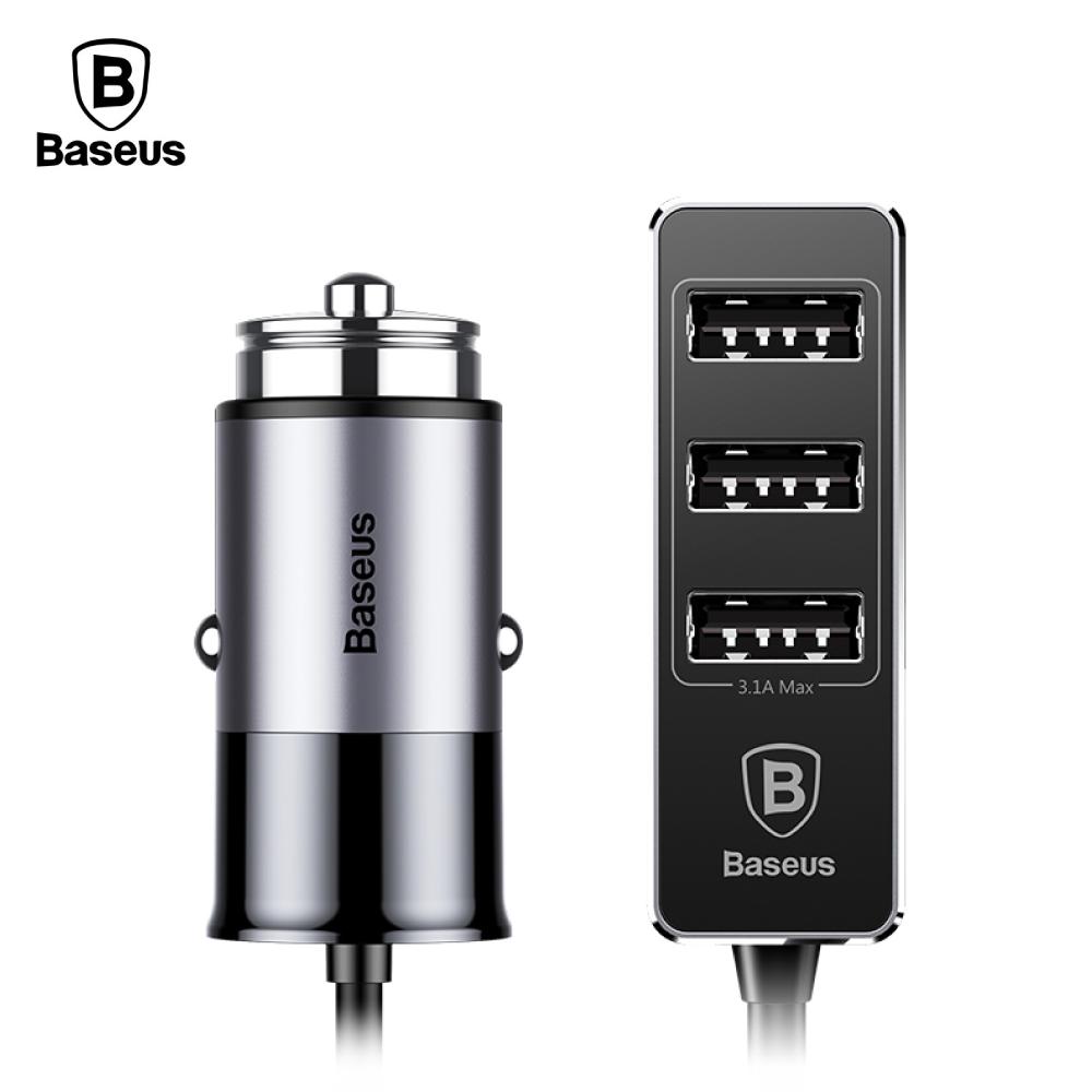 Baseus倍思 同享 四孔USB車用充電器 - 深灰色