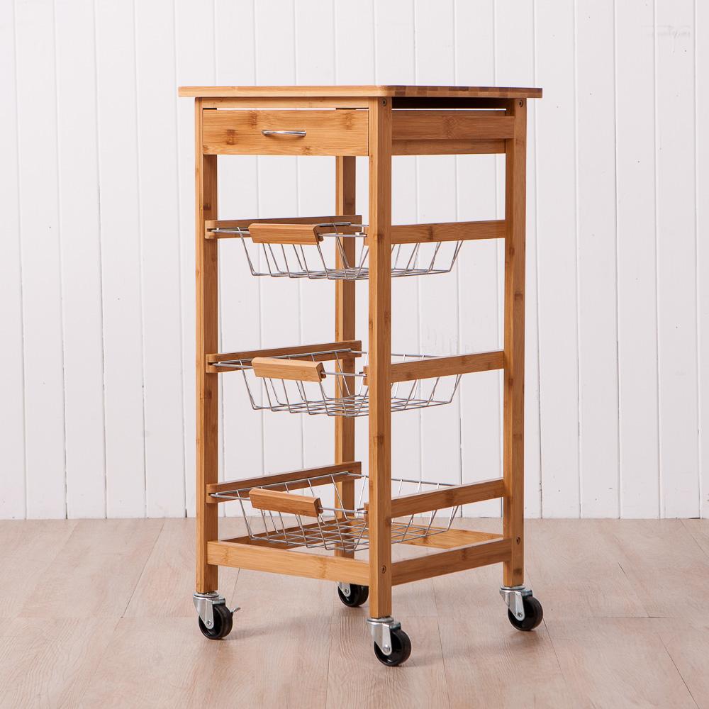 品竹生活簡易三層餐車附抽屜-生活工場