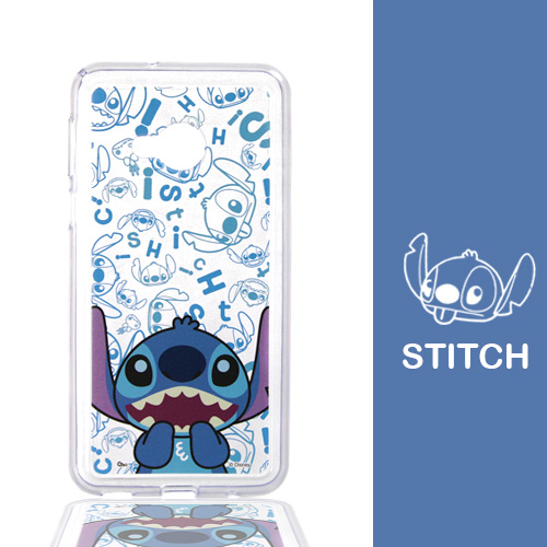 【Disney】HTC U Play (5.2吋) 摀嘴系列 彩繪透明保護軟套(史迪奇)