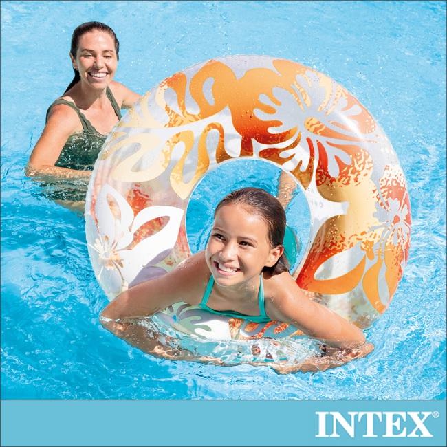 【INTEX】南洋風游泳圈-直徑91cm-桔色 適用9歲以上 (59251)