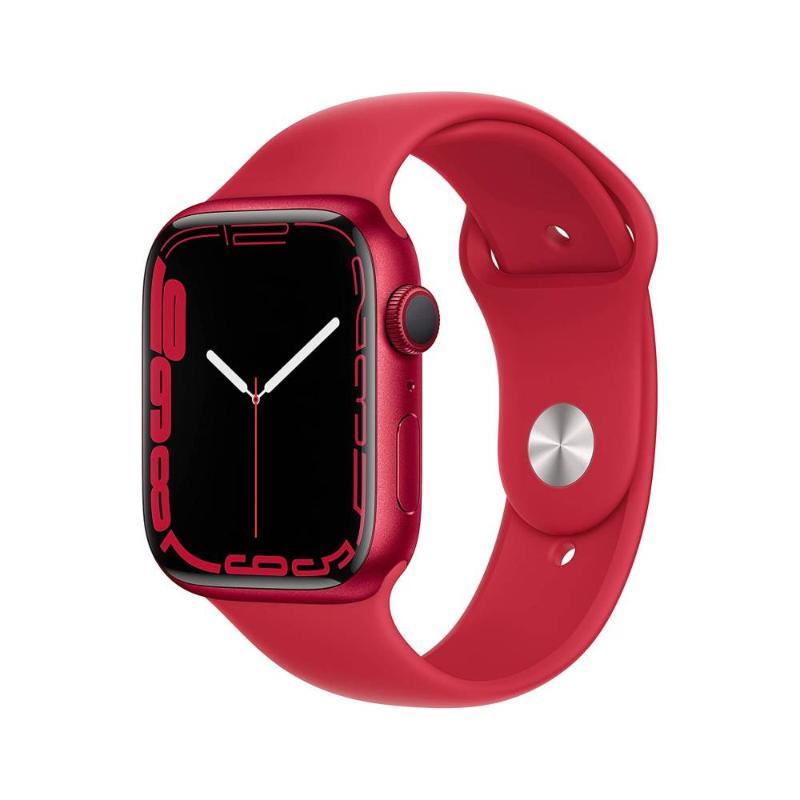 Apple Watch S7 GPS 45mm 紅色鋁金屬-紅色運動型錶帶【預約賣場】