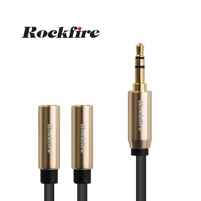 Rockfire鋁合金高級3.5mm音源分享線0.3m - 金色