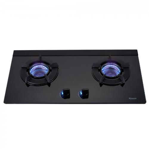 (全省原廠安裝)林內雙口內焰玻璃檯面爐鑄鐵爐架黑色LED瓦斯爐RB-N212G(B)