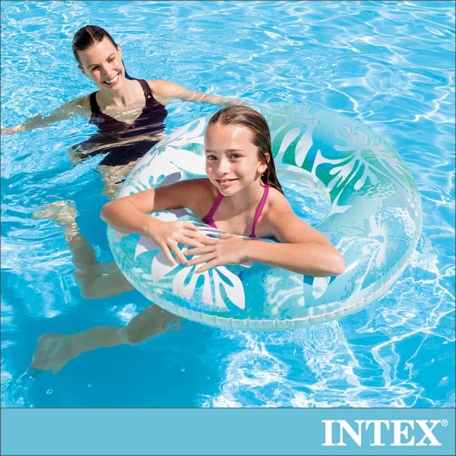 【INTEX】南洋風游泳圈-直徑91cm-藍色 適用9歲以上(59251)