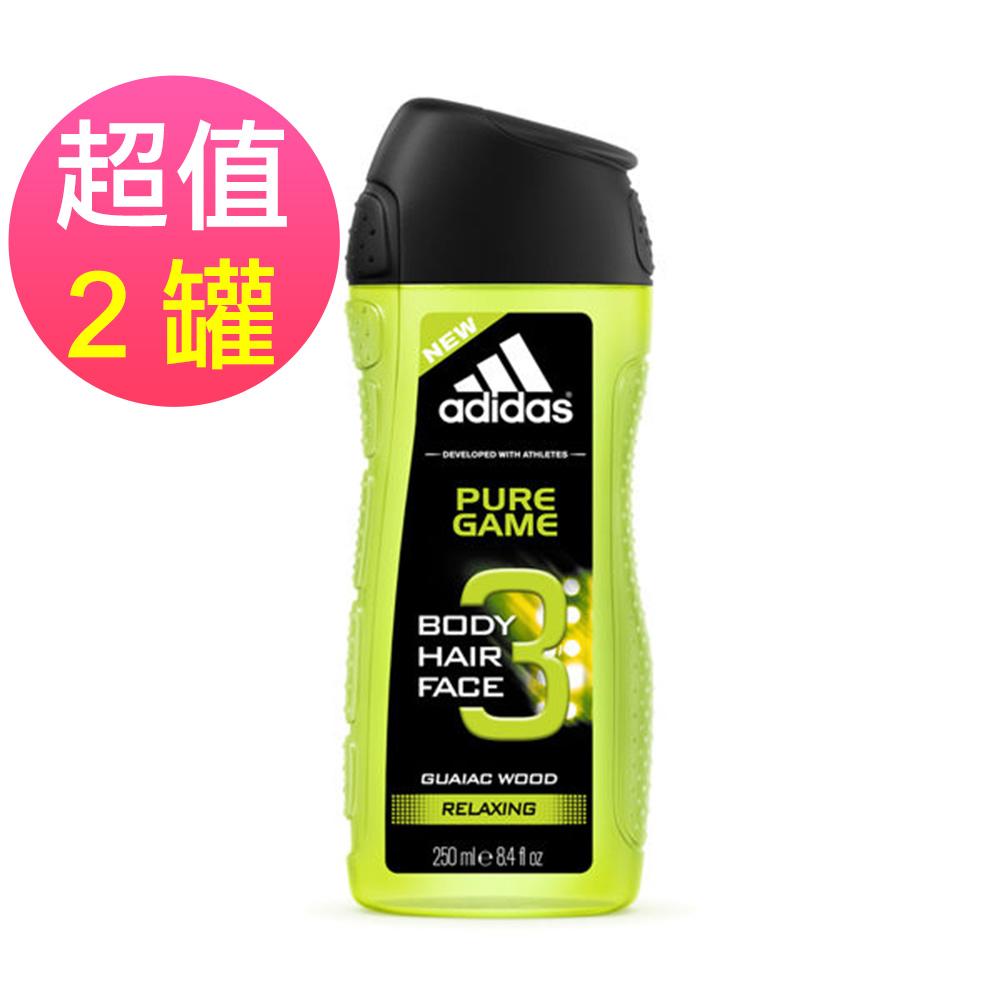 adidas愛迪達 男用三效潔顏洗髮沐浴露(極限挑戰)x2罐(250ml/罐)