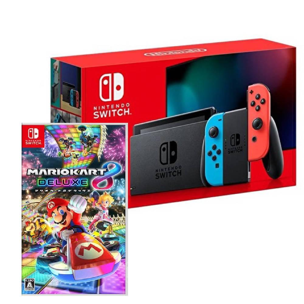Nintendo Switch 主機 電光紅藍 (電池加強版)+瑪利歐賽車 8 豪華版 中文版