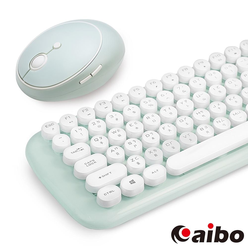 aibo KM12 棉花糖打字機 2.4G無線鍵盤滑鼠組-湖水藍