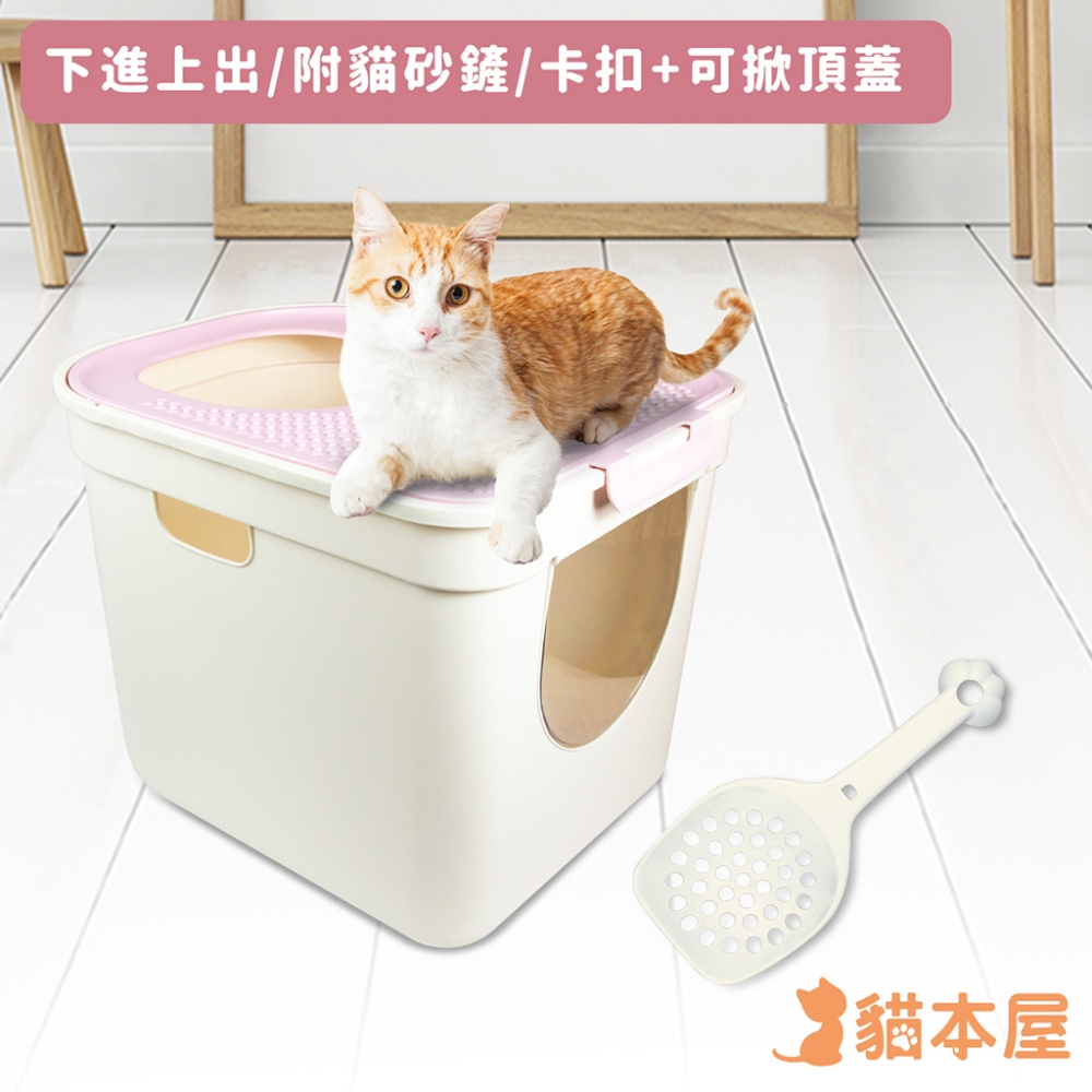 貓本屋 下進上出 升級款特大號貓砂盆(51x40x38cm)-粉紅