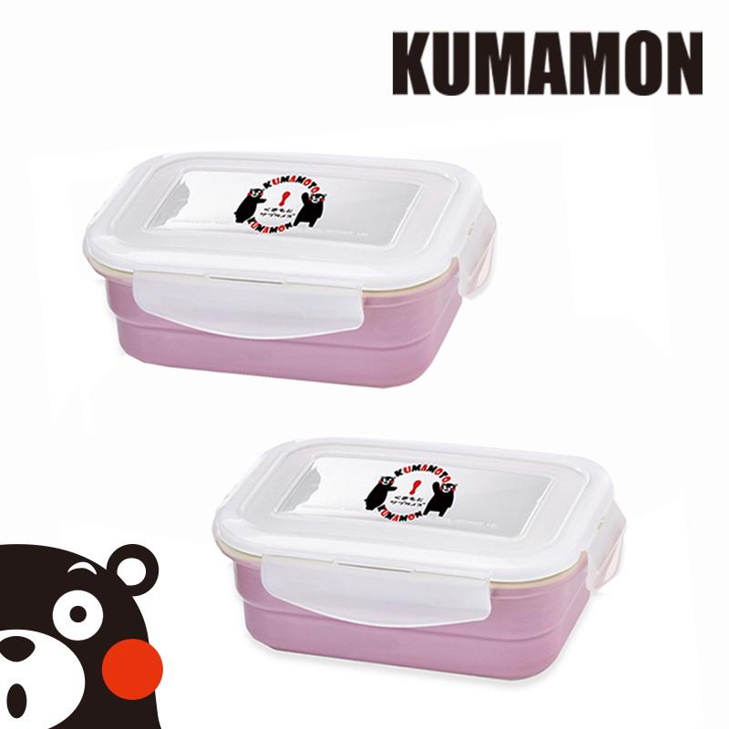 【KUMAMON酷Ma萌】鑄瓷可微波烤箱保鮮盒800ml(方型)2入組
