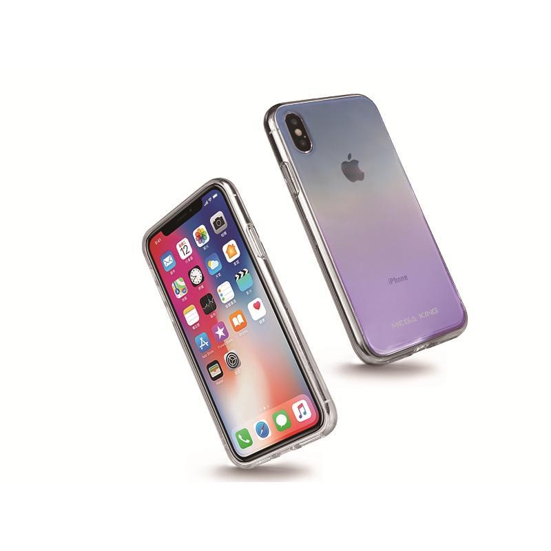 MEGA KING 玻璃背蓋保護套 iPhoneXs 漸層