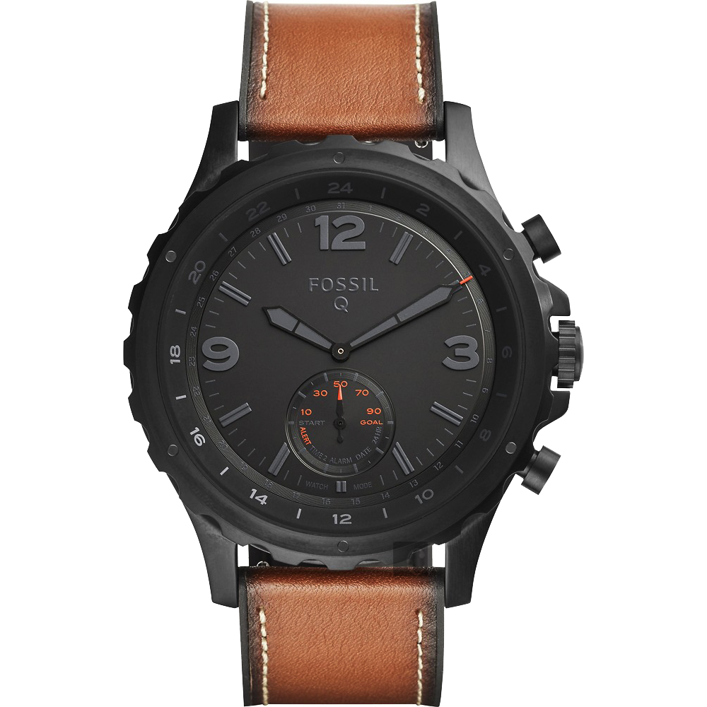FOSSIL Q Nate 智慧型多功能腕錶(FTW1114)-黑x咖啡/50mm