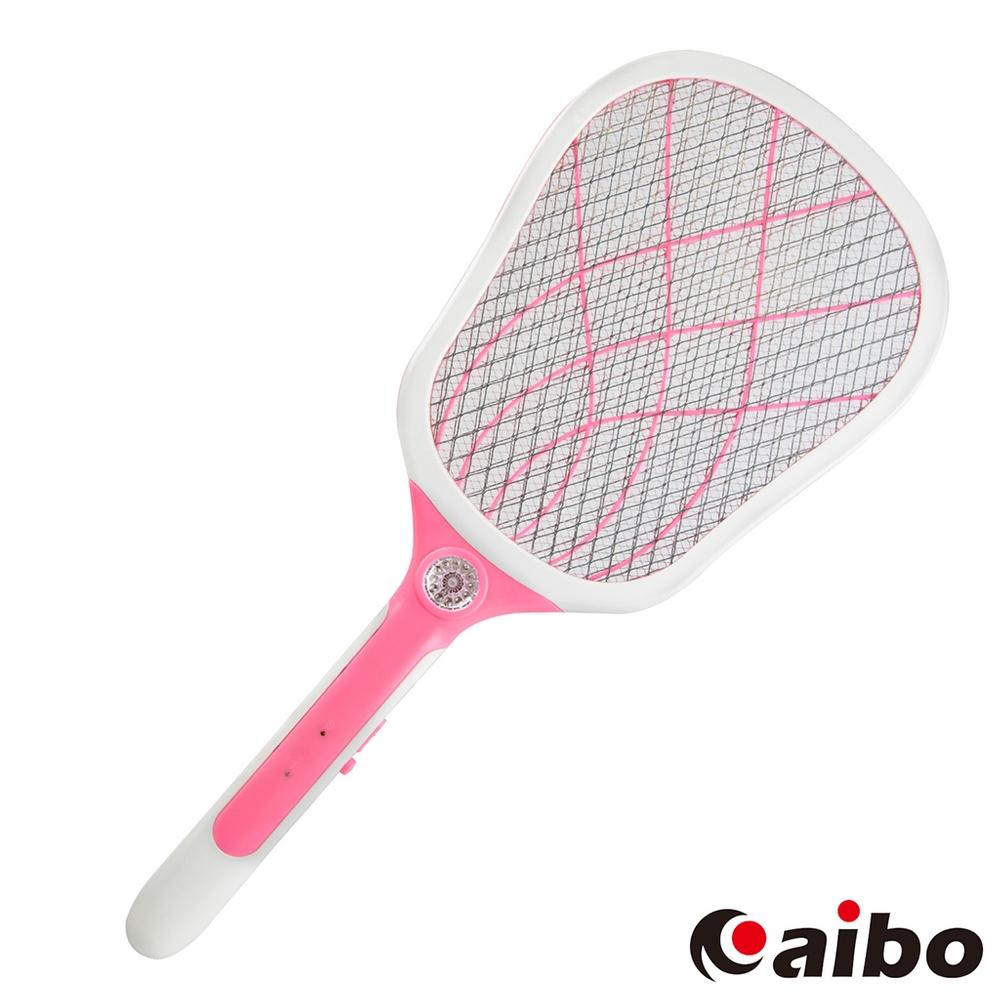 aibo LED照明USB充電式 三層網防觸電蚊拍(UR-19A3)-粉紅