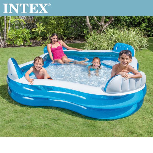 【INTEX】藍色透明有靠墊戲水游泳池229x229x66cm(990L)適用3歲+(56475N)