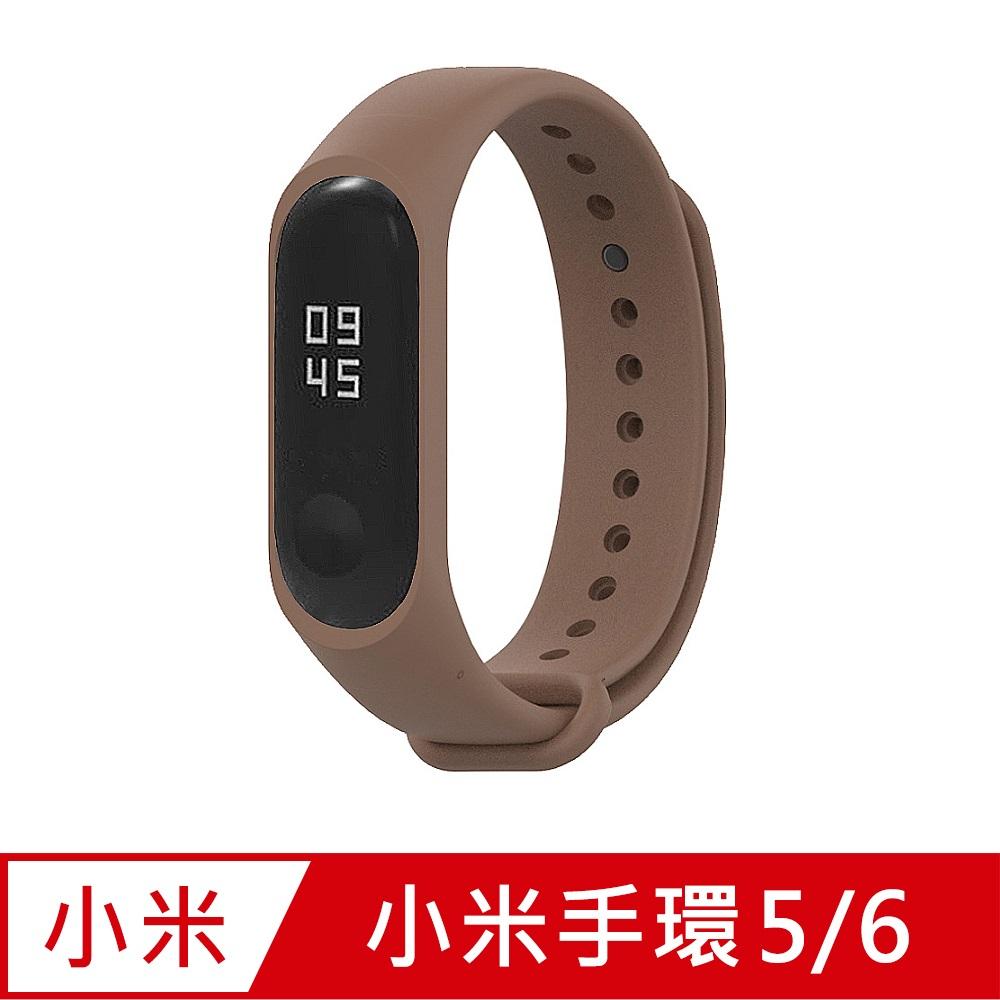小米手環6代/5代/Amazfit華米 Band 5通用 矽膠運動替換錶帶-咖啡色