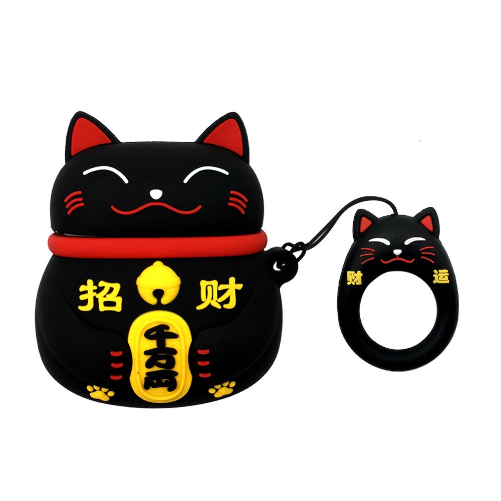 AirPods 招財貓立體造型矽膠保護套 附造型掛繩-黑貓