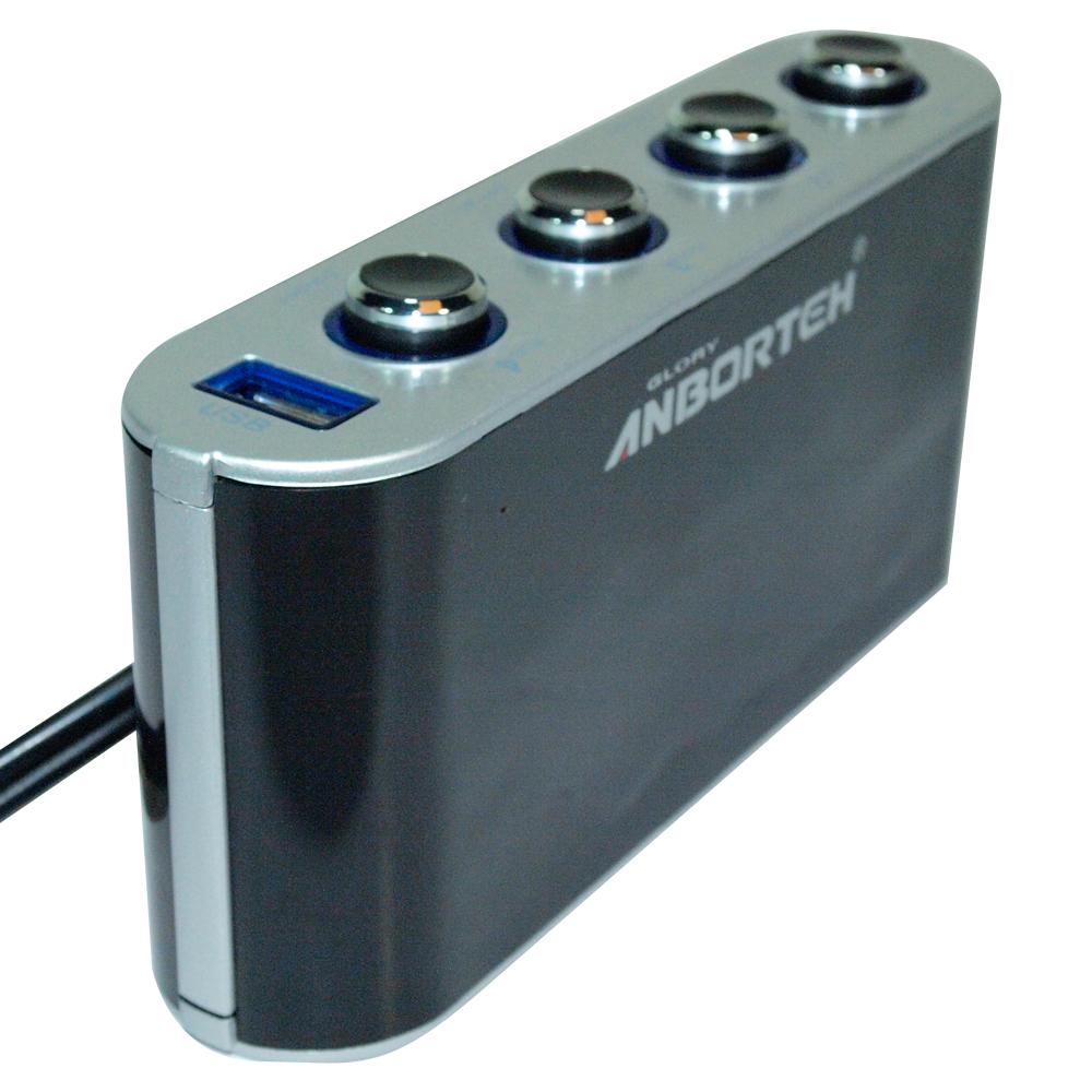 【安伯特】車用(旋光按鈕式開關)四孔電源擴充座(4孔+1USB)智慧型手機充電MP3/4 PSP 衛星導航 測速器充電