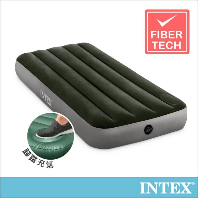【INTEX】經典單人型充氣床墊(fiber-tech)-內建腳踏幫浦-寬76cm(64760)