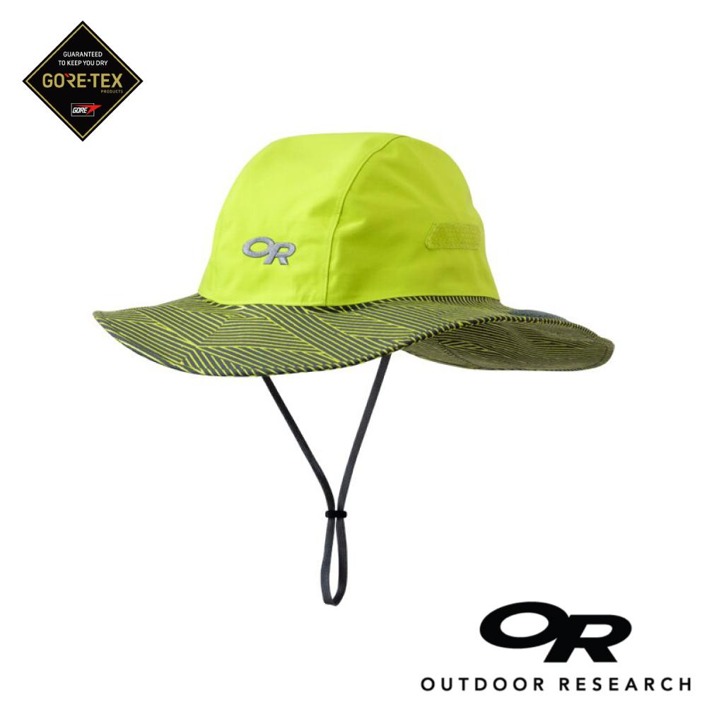 【美國Outdoor Research】螢光綠XL-條紋款防水透氣防曬可折疊遮陽帽