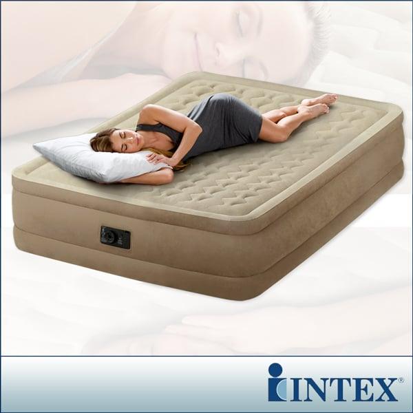【INTEX】超厚絨豪華雙人加大充氣床-寬152cm (內建電動幫浦)fiber-tech新型(64457)
