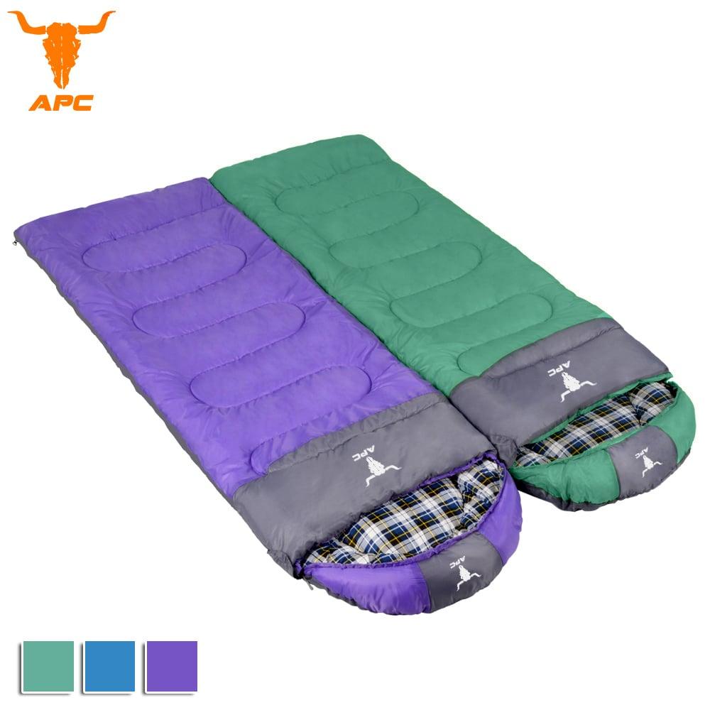 APC《純棉格子》秋冬加寬可拼接全開式睡袋-綠色+紫色
