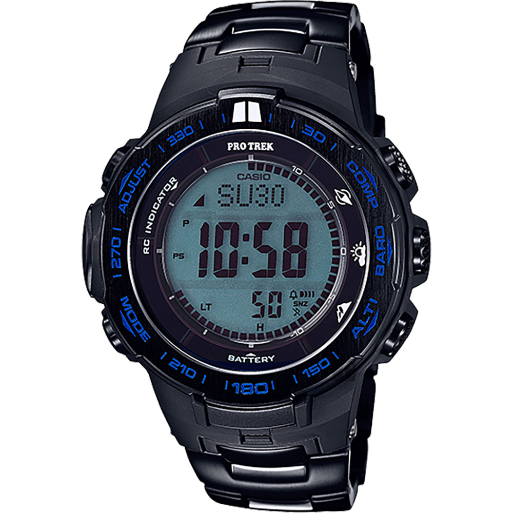 CASIO 卡西歐 PRO TREK 專業登山太陽能電波手錶-藍/56mm PRW-3100YT-1DR