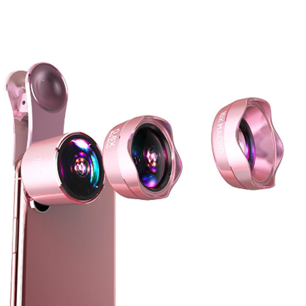 LIEQI 0.6X廣角鏡頭+魚眼+微距 雙夾子 EVA收納盒 LQ-183 玫瑰金