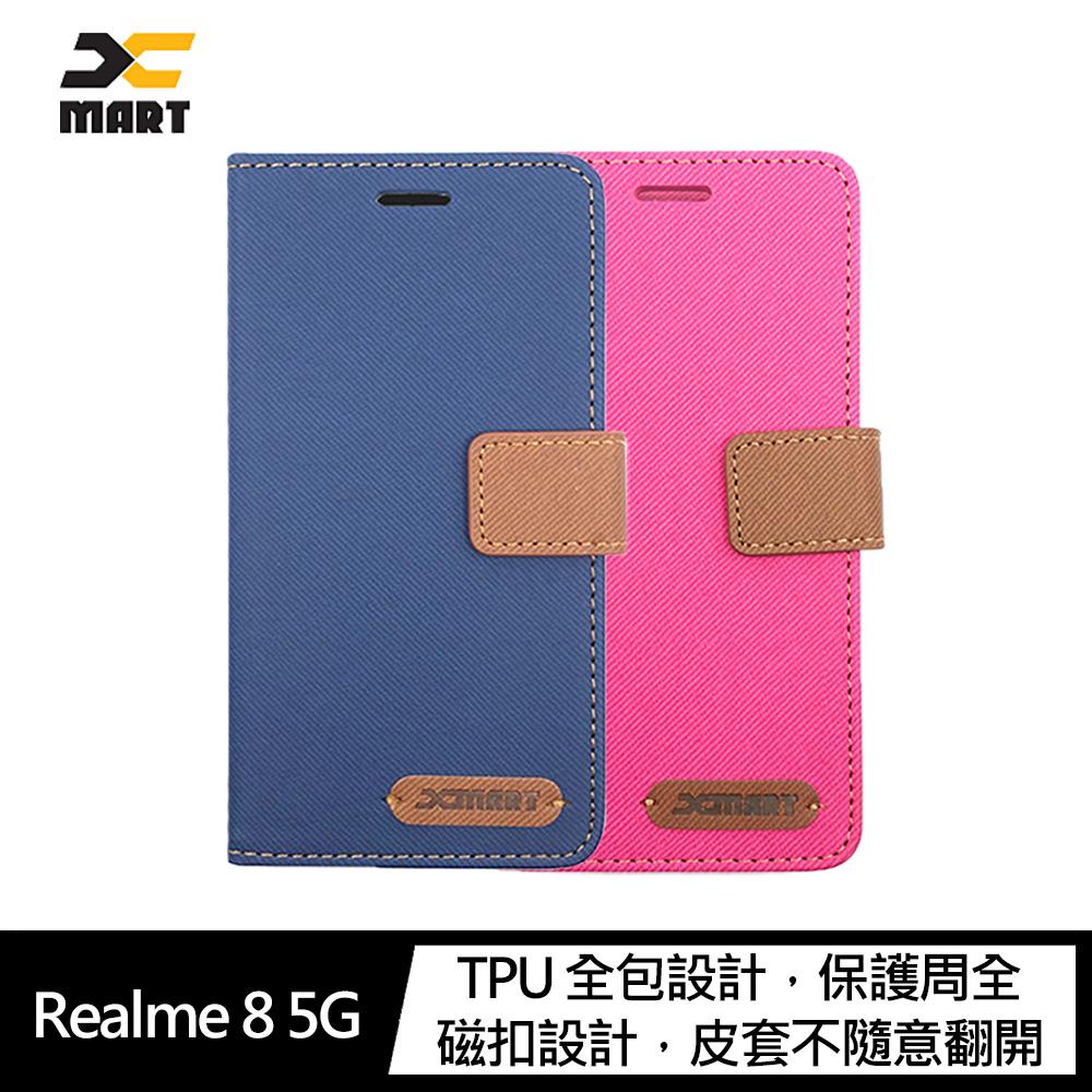 XMART Realme 8 5G 斜紋休閒皮套(桃紅)