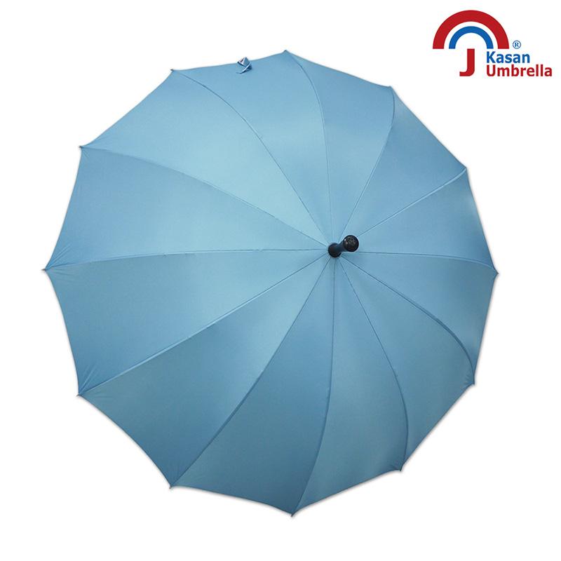 【Kasan晴雨傘】大傘面12K銀素自動直傘-水藍