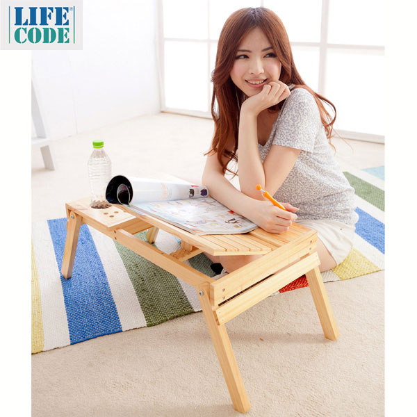 【LIFECODE】懶人松木折疊桌/床上桌/筆電桌/小書架(雙置物盒+杯架+筆座)
