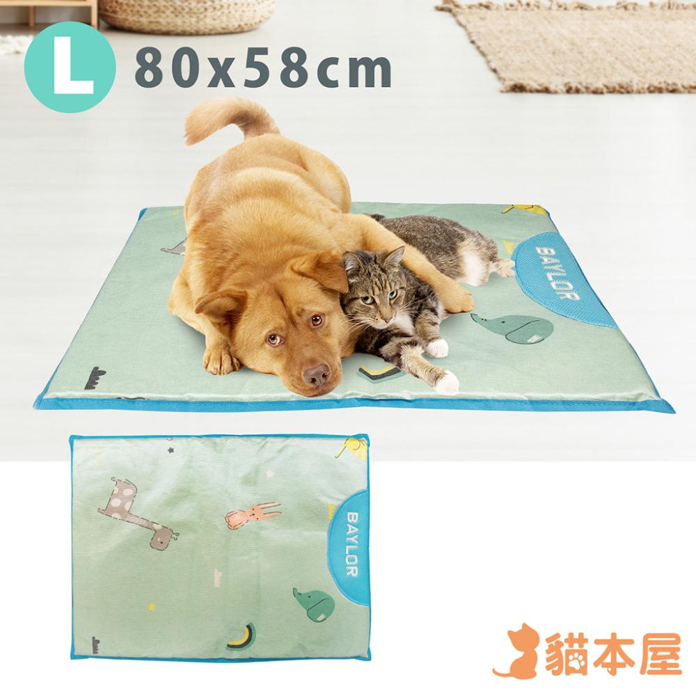 貓本屋 冰絲寵物涼墊(L號/80x58cm)-動物藍