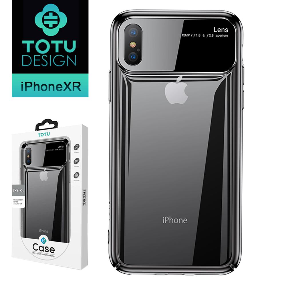 【TOTU台灣官方】iPhoneXR 手機殼 iXR 鋼化玻璃電鍍防摔手機殼 魔鏡系列 黑色