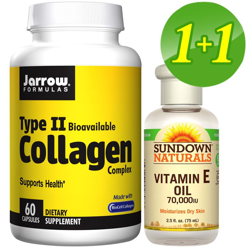 【超值優惠】體內外保養組-Jarrow賈羅公式 II型膠原蛋白(60粒)+Sundown日落恩賜 維他命E護膚油(75ml)