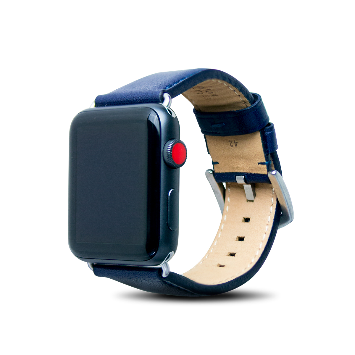 Apple Watch 44/42mm 皮革錶帶 - 海軍藍