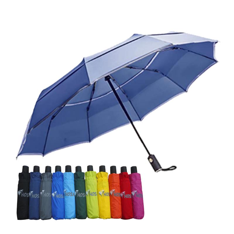 【HOSA】安全雙反光自動傘-深藍