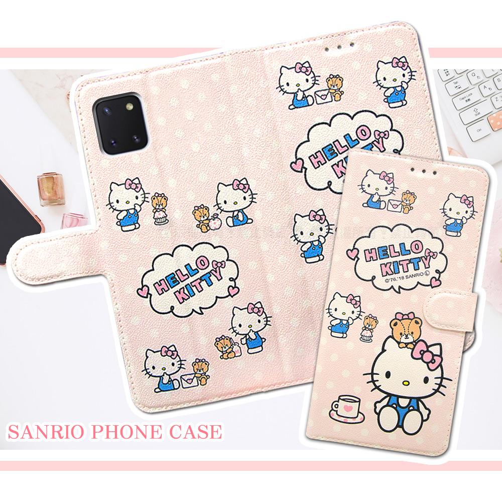 三麗鷗授權 Hello Kitty貓 三星 Samsung Galaxy Note10 Lite 粉嫩系列彩繪磁力皮套(小熊)