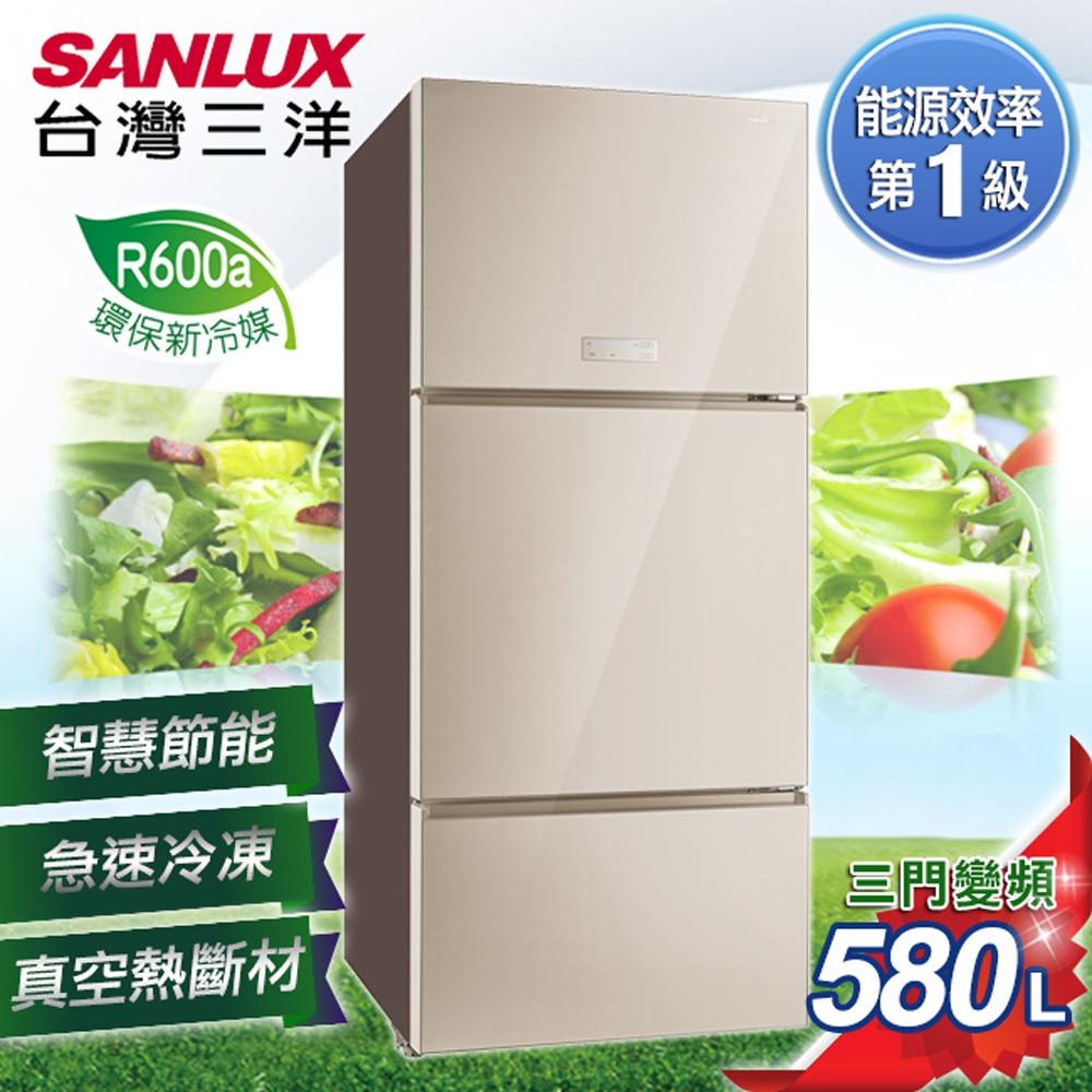 【SANLUX台灣三洋】580L三門直流變頻冰箱 SR-C580CVG