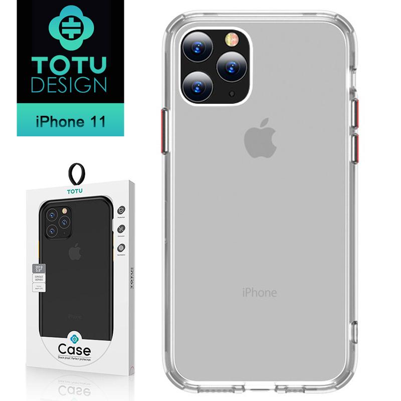 【TOTU台灣官方】送撞色按鍵 iPhone11手機殼防摔殼 i11 (6.1) 晶剛系列 半透明/紅色